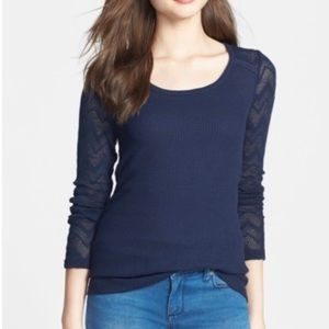 {NWT} Lucky Brand Ginny Lace and Thermal Knit Tee